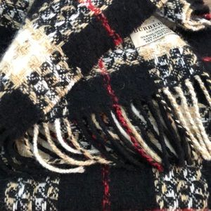 BURBERRY Black/Cream/Red/Tan Plaid Wool Scarf